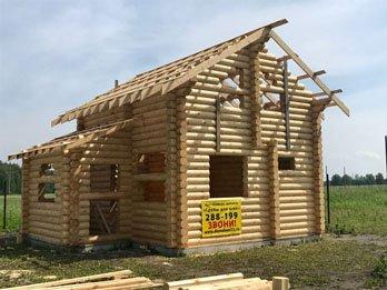 Портфолио - сруб двухэтажного дома из оцилиндрованного брева