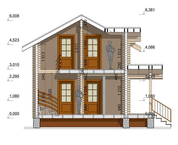 Дом из профилированного бруса в разрезе