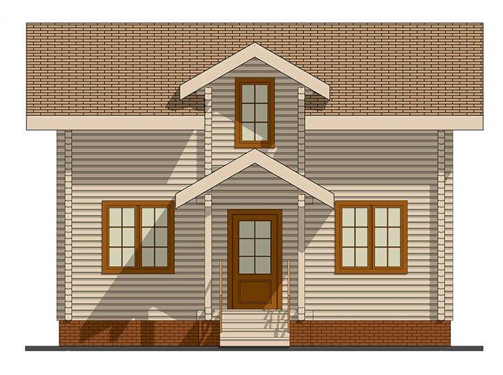 Фасад дома из профилированного бруса