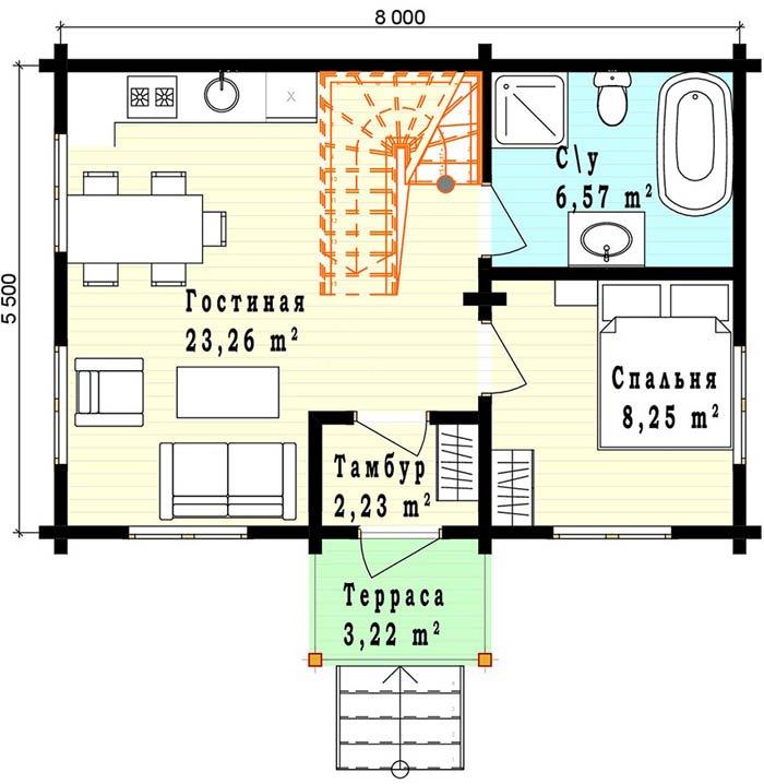 Дом из профилированного бруса план первого этажа