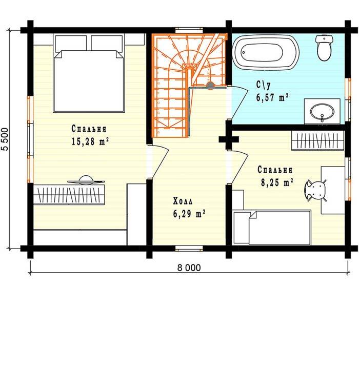 Дом из профилированного бруса план второго этажа